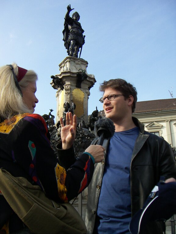 Patricia Lawrence and guest recording Audio Journeys in Augsburg Germany